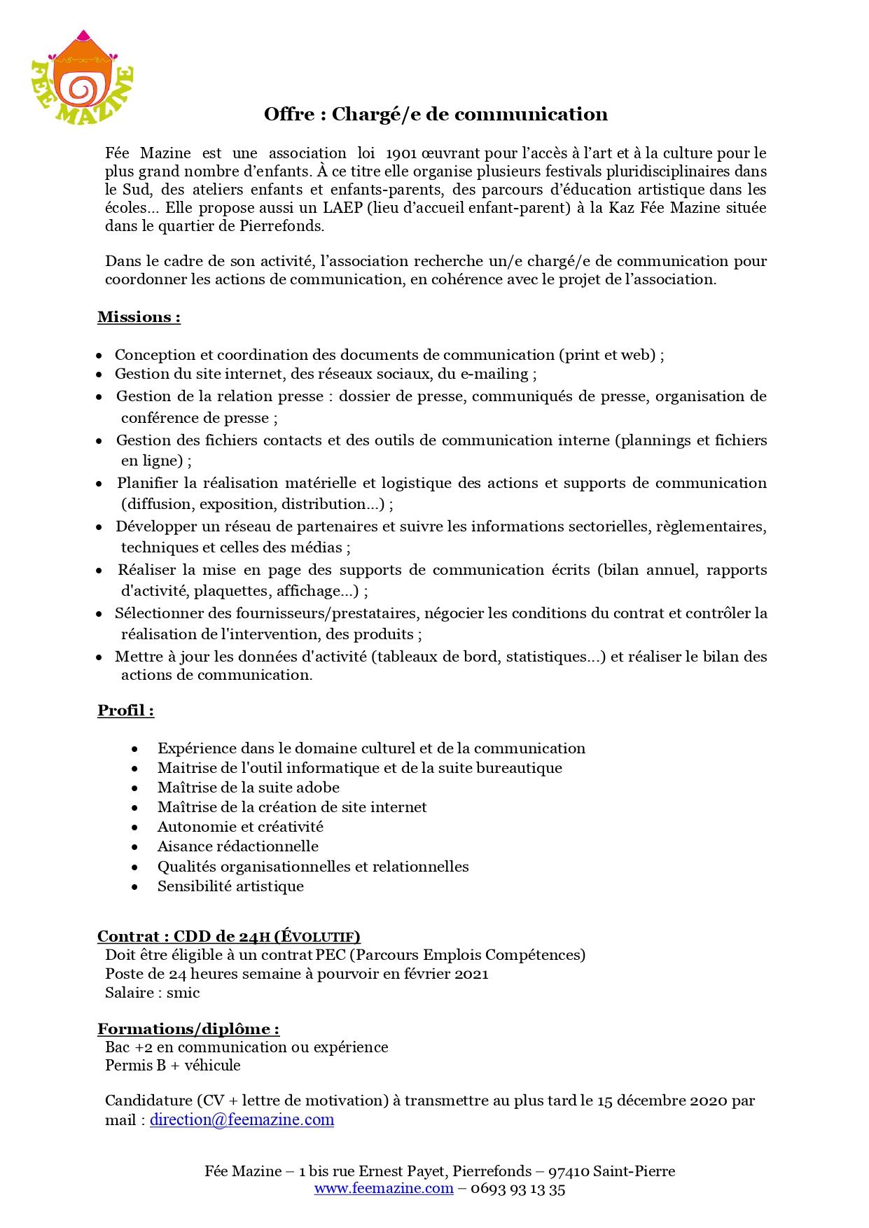 Fée Mazine recrute… un-e chargé-e de communication !